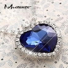 Meetcute Luxury  The Heart Of The Ocean Full Cubic Zirconia Collar Necklace Heart Pendant For Woman Oversize Blue Crystal Charms
