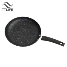 TTLIFE New Arrival 26cm Flat Bottom with Compound Bottom Pan Medical Stone Non Stick Multipurpose Frying Pan No Cover(China)