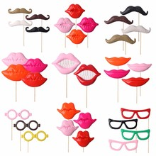2~4PC Photo Booth Props Party Wedding Decorations Supplies Glasses Mustache Lip On A Stick for Fun Favor Brithday Party Favors(China)
