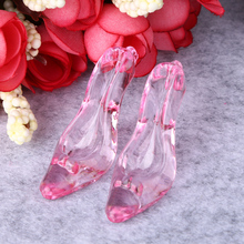 20pcs Plastic Shoes Gifts Clear High Heel Pendant Wedding Party Crystal Shoes Pendant Acrylic Table Figurines Craft Home Decor