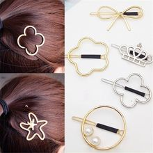 Gilr Hairpin Vintage Metal Crown Bowknot Four-leaf Grass Flower Star Hair Clips