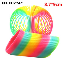 Kids Toy Large Magic Plastic Slinky Rainbow Spring 8.7*9cm Colorful Funny Classic Toy For Children Gift Hot Sale(China)