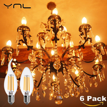 6PCS Crystal celling LED Vintage Edison light Bulb C35 C35L E14 Lampada 220V 4W 6W Bombilla LED Lamp Antique Retro Light Bulb(China)