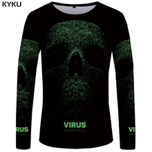 KYKU Brand Skull Long sleeve T shirt Geeks Funny T shirts Gothic Tshirt Punk 3d T-shirt Tees Clothing Men Print Cool Mens New(China)