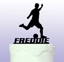 Acrylic Footballer/Soccer custom name birthday cake toppers wedding bridal baby shower Bachelor party theme decorations