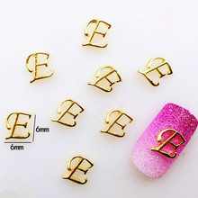 "10Pcs/Lot 6*6mm Gold letter""E"" Metal Alloy Nail Art Decorations 3D DIY Nail Stickers Deco/Charms for Manicure"