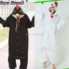 Cheap Animal Winter Women White Black Rooster Chicken Kigurumi Pajamas Onesies Adult Party Cosplay Costume Hooded Sleepwear(China)