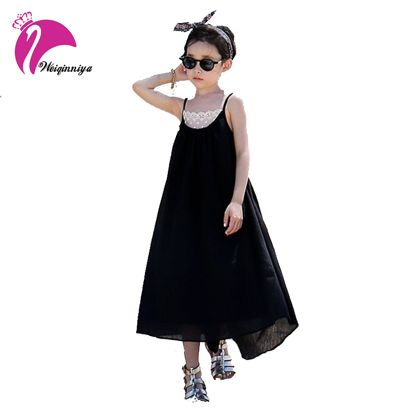 2017 Brief Style Baby Girl Beach Long Dress Summer Childrens Casual Solid Sleeveless Clothes Fashion Leak back Ankle-Length Hot<br>