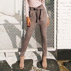 Женские замшевые брюки с завышенной талией