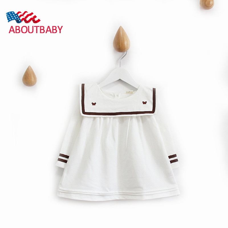 New Girl Dress Navy Style Long Sleeve Cotton Spring Autumn For Girls Dress Kids Clothes Children Tops Tutu Dress<br>