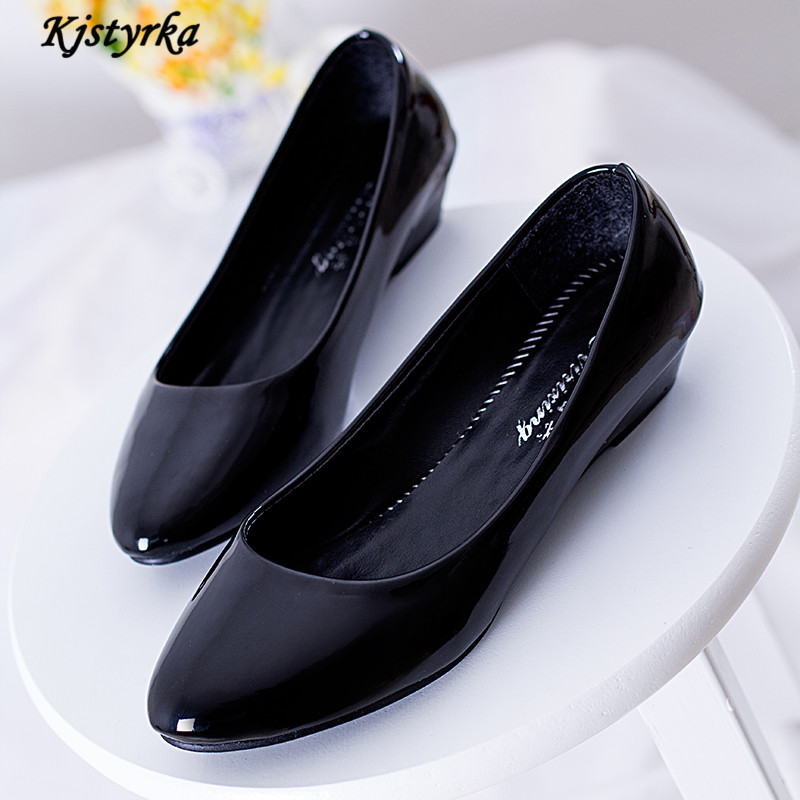 Kjstyrka 2017 New Summer Women Pumps Wedges 3CM High Heels Shoes Pointed Toe Patent Leather Work Single Shoes<br><br>Aliexpress