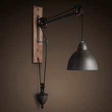 American Vintage Iron Cover Iron Pulley Lamps French Loft Style Dining Room Wall Lamp AC90-265V Free Shipping