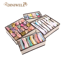 DINIWELL 4PCS Storage Boxes For Ties Socks Shorts Bra Underwear Divider Drawer Lidded Closet Organizer Ropa Interior Organizador(China)