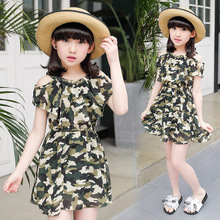Dresses for girls 2017 summer Girl dressed up strapless short sleeve camouflage chiffon dress cute girl costume 3-12 years old