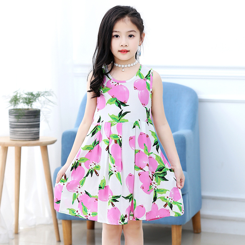18 New Casual Dress Summer Style Sleeveless Cartoon printed pure cotton for Girls Dress 3-10 Years Children Clothing 4