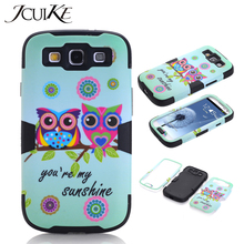 Fundas Cute Owl Cover For Samsung S3 Case Galaxy S3 Phone Cases 3 in 1 Dual Layer Impact Hybrid Full Protective Cell Phone Shell(China)