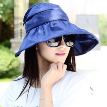2017 Summer Women's Wide Brim Beach Sun Hat Fashion Chapeu Feminino Foldable Visor Cap Outdoor Anti-UV Cap(China)