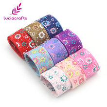 Lucia crafts 25mm Multi colors options Printed Organza Ribbon gift wrapping decoration DIY Garment Sewing Accessories 040044073(China)