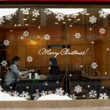 Big Christmas Showcase Glass Sticker Coffee Shop Hotel Windows Wall Sticker New Year Snowflakes Winter Decor Romantic MeleStore