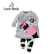 LOVIN BECIA 2pcs/ set New dress pants spring summer Cows Kids clothes sets for Baby girls children clothing toddler suit costume(China)