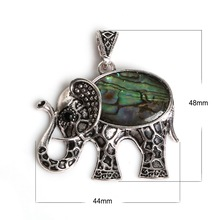 Charm 44x48MM Natural Abalone Shell Stone Pendant Elephant Necklace Pendant Silver Plated Pendant 1PCS