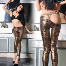 Leopard Pants Thin PU Leather Pants Women Sexy Elastic Skinny Trousers Stretch Slim Pencil Pants Y3