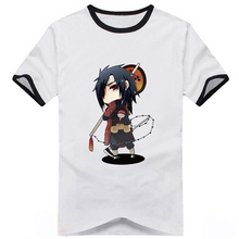 16Colors Naruto Hatake Kakashi Sasuke Uchiha Q Version Printed T-shirt Cosplay Costume Daily Casual Short Sleeve Tee Shirts(China)
