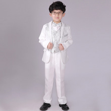 Boy Formal Dress Tuxedo Piano Performance Costume Flower Boys Birthday Wedding Suits 5pcs Jacket + Vest + Shirt + Pant + Tie F59
