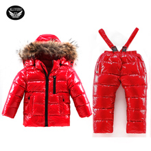 Boy Winter Ski Suits 2017 90% White Duck Down Jacket Girl Suit Overalls Children's Sportswear Baby Fashion Clothing Waterproof
