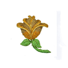 Retro all-match fringed Yellow roses full crystal brooch jewelry gift for Valentine's Day Accessories costume jewelry brooches