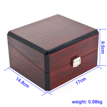 Brand Box wine red natural Wood Watch Box endothelial import PU with a lock paint cover Watch Case Box Watch Watch Display Box