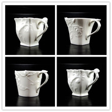 200ml European bone porcelain coffee mug Relief ceramic coffee mug Western Restaurant Cafe afternoon tea mug