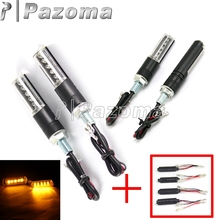 PAZOMA 4 Pcs Black LED Turn Signal Indicator Blinker Motorcycle Light Flasher Dirt Bike Turning Light for Honda Suzuki Yamaha(China)