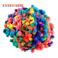 Section Stained 10 Yards/lot Colorful Pom Pom Lace Trim Plush Ball Fringe Ribbon DIY Handmade Sewing Braided Accessory JK151