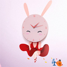 Wall clock with cartoon wall sticker creative DIY parent-child products home decoration wall paper children's bedroom wall clock(China)