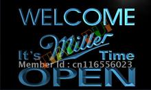 LA070- Welcome It's Miller Time Beer OPEN LED Neon Light Sign(China)