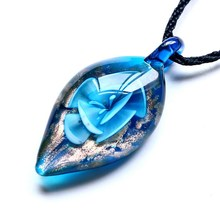 hot Wholesale 6 Color Lampwork Glass Pendant Necklace Trendy Leaf Shape Murano Pendants Gold Dust & Silver Foil For Women