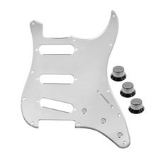 Silver Mirror Style Guitar Pickguard SSS 11Holes 2T1V Guitar Knobs for Strat Guitar