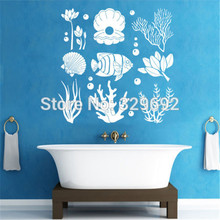 Marine Seaweed Wall Decals Ocean Sea Life Sticker Vinyl Bathroom Decor Art Household adornment wall stickers(China)