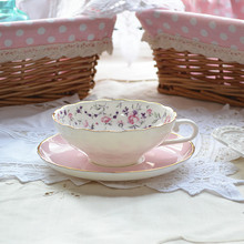 European Royal Bone China Coffee Cups And Saucers-Pink Flower Teacup And Saucer Turkish Coffee Cups With Gold Rim