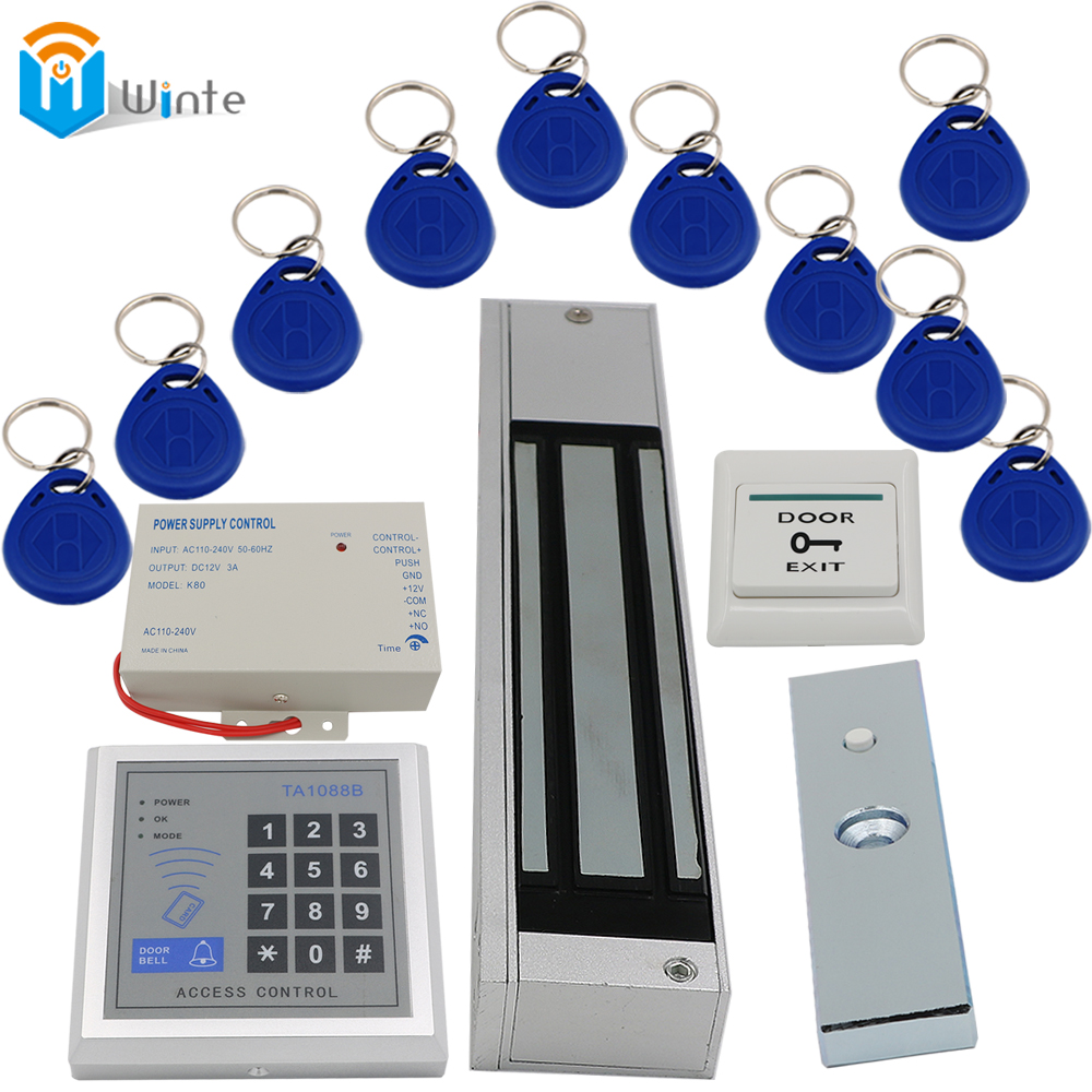 Access Control Door RFID Kit 280kg Magnetic Lock rfid keychain card+Card Reader+Power supply+Door exit switch buttons DIY Winte<br>