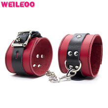 Buy soft leather hand cuffs erotic bdsm sex handcuffs sex bdsm bondage set restraint fetish slave game adult sex toy couple