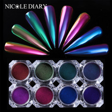 0.5g Chameleon Powder Mirror Nail Powder Chrome Pigment Nail Art Dust Manicure Glitters Black Base Color Needed