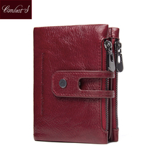 Genuine Leather Wallet Women PORTFOLIO 2017 New Small Portomonee Vallet With Coin Purse Pockets Slim Rfid Fashion Mini Walet(China)