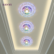 SANYI Modern 3W LED Crystal Glass+Crystal Pendant Light Warm White/multicolor/Pink/Blue Loft Light Vintage Pendant Lamp