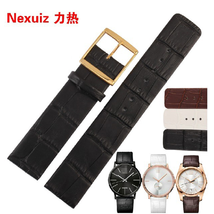 Black leather watchband with gold steel clasp deployment 20mm 22mm Crocodile Grain cowhide leather straps bracelet for men watch<br><br>Aliexpress