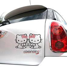 Cartoon KT cat hollow bow Car body car stickers Hello Kitty Car styling Accessories(China)
