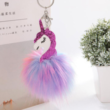 Opshineqo Unicorn pompom Keychain Colorful Fake Rabbit fur ball Fluffy licorne Key Chain Horse porte clef Bag Car Keyring(China)