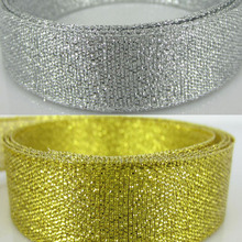 "1Roll 25Yards 3/4"" Silver/Gold Organza Glitter Ribbon Party Home Wedding Decoration Gift Wrapping Christmas Ribbon Bow 20mm(China)"