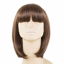 Brown Wig Bangs Fei-Show Synthetic Heat Resistant Fiber Short Wavy Fringe Bangs Women Female Cos-play Hairpiece Student Bob Hair(China)